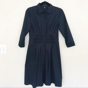 Elie Tahari Black Ruched Pleated Shirt Dress